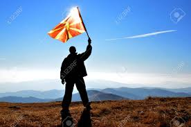 Macedonian Flag Successfull Silhouette Man Winner Waving Macedonian Flag On Top