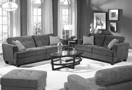 plush grey themes living room design with grey velvet sofa set