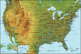 Map Of United States Cities by Detailed Topographical Map Of The Usa The Usa Detailed