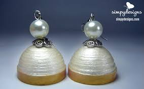 handmade paper earrings pearl and gold paper earrings simpy designs
