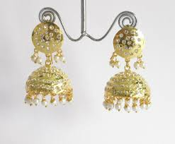 punjabi jhumka earrings gold jadau jhumki jhumka earrings indian punjabi muslim