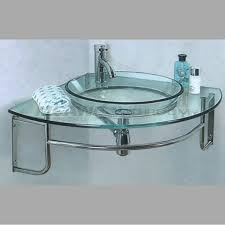 Glass Bathroom Sink Vanity Transparent Tempered Glass Bathroom Vanities For Vessel Sinks