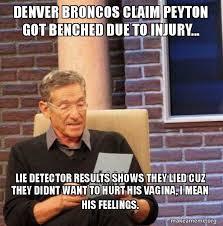 Broncos Win Meme - denver broncos claim peyton got benched due to injury lie