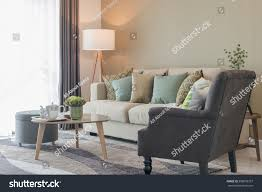 modern living room green pillows on stock photo 568879327