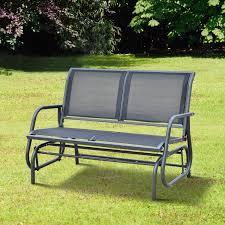 outsunny outdoor textilene double swing bench grey aosom co uk