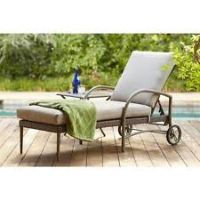 hampton bay posada patio chaise lounge with gray cushion hd2 ebay