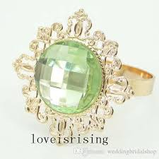 green gemstones rings images Beautiful sparkling light green gemstones gold plated napkin rings jpg