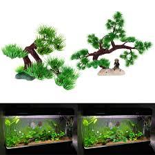 artificial plant plstic pine tree aquarium fish tank rockery