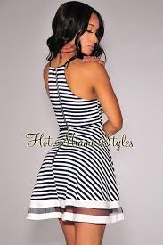 navy blue off white striped plunging skater dress