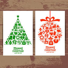 beautiful cards merry christmas tree ball vector free