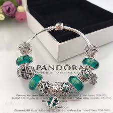 pandora charms pandora bracelet images Authentic pandora bracelet with green clover theme charms jpg