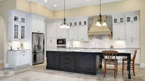 traditional kitchen islands kitchen with white cabinets and a gray island omega