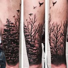 collection of 25 birds and tree left sleeve tattoos for