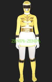 Power Rangers Halloween Costumes Adults Power Ranger Megaforce Costume Yellow White Lycra Zentai Suit