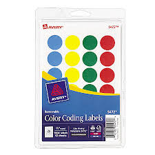 avery removable round color coding labels 34 diameter assorted