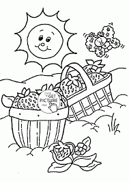 strawberry day summer coloring page for kids seasons coloring