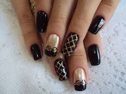 silver gold and black nails design black and gold nail designs