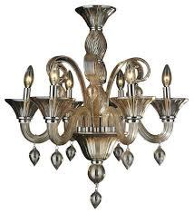 Murano Blown Glass Chandelier Murano Venetian Style 6 Light Blown Glass In Amber Finish