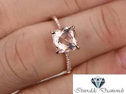 8mm diamond 8mm cushion cut morganite engagement ring solitaire diamond pave