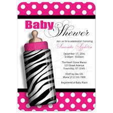 shower invitations zebra print baby bottle pink