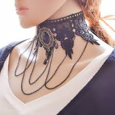 long chain choker necklace images Wholesale long chain tassel statement wide flower chunky chokers jpg