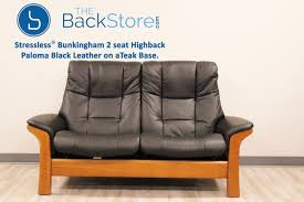 2 Seat Leather Reclining Sofa Stressless Buckingham 2 Seat Loveseat Paloma Black Color Leather