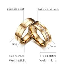 stainless steel wedding ring sets 6mm stainless steel wedding ring for ip gold color