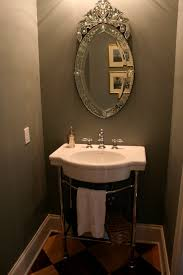Powder Room With Pedestal Sink Victorian Oval Mirror And Bathroom Classic Vintage Style Powder