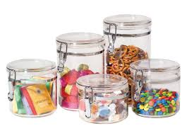 Storage Canisters Kitchen by Amazon Com Oggi 9322 5 Piece Acrylic Canister Set With Airtight