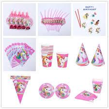 unicorn party supplies unicorn party decoration kids birthday party supplies flag straw