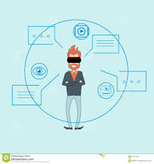 man virtual reality digital glasses sketch background dialog chat
