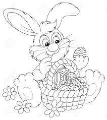 easter bunny with a basket of painted eggs royalty free cliparts