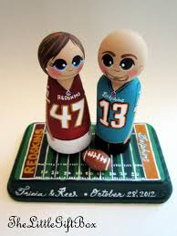 wedding cake topper custom painted wood peg dolls football