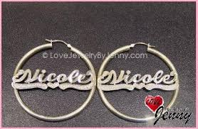 Name Hoop Earrings Personalized Hoop Bamboo And Name Earrings