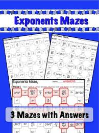 exponents mazes 3 worksheets x raise to power u0026 negative exp