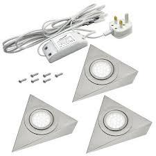 kitchen cabinet lighting uk pack of 3 triangular led kitchen cabinet shelf lighting kit uk 3 pin ebay