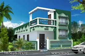 way2nirman 100 sq yds 20x45 sq ft north face house 2bhk elevation