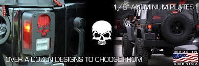 custom jeep tail light covers anyone like skulls www dnajeep com jeep tail light guards com