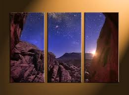 3 piece brown landscape stars canvas wall art
