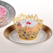 wholesale 120pcs gold butterfly design cloud hollow out cake paper