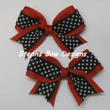 african american cheer hair bows red black and white tiny dots cheer bows pigtail hair bows