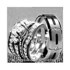 titanium wedding ring sets his hers 4 pcs womens sterling silver mens titanium wedding
