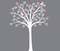 Grey And Pink Nursery Decor by Kids Wall Decal White Tree Wall Decal Pink Grey Children Nursery