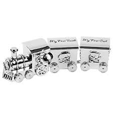silver plated baby gifts money box tooth curl carriages silver
