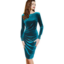 Draped Long Sleeve Dress Teal Solid Color Draped Long Sleeve Velvet Party Dress 21
