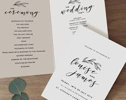 wedding program templates wedding program template etsy