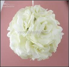 Cheapest Flowers 6 Cream Ivory Flower Kissing Ball Wedding Flowers Decoration For