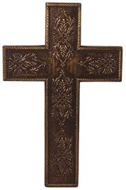 cross statue in mdf with brass work u2013 copper color with fauna