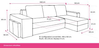 dimension d un canapé toledo canapé d angle réversible convertible avec coffre 248 x