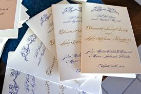 wedding program card stock blue and gold wedding programs luster designs on paper